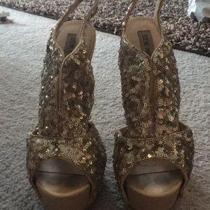Gold sequined platform heels